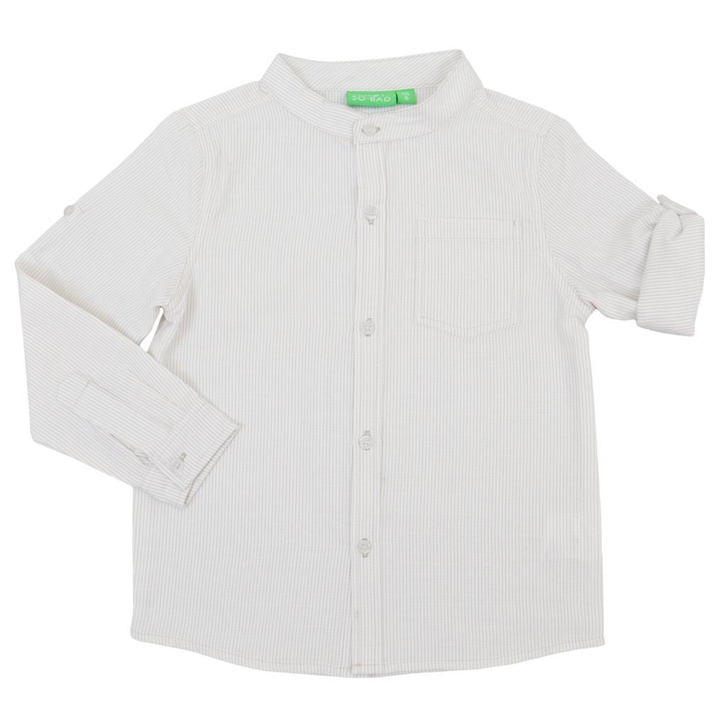 Елегантна риза с ръкав 2в1 и столче яка на тесни райета в бежово