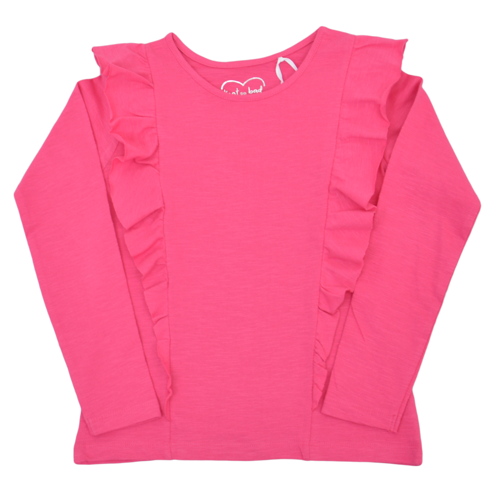Блуза дълъг ръкав с асиметрични шевове и къдри розова