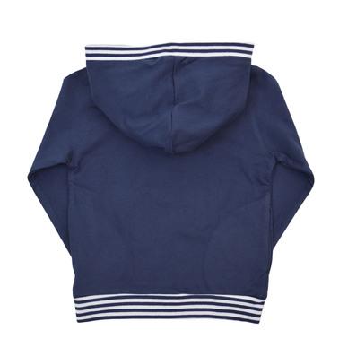 Спортна блуза с качулка и щампа на сандвич тъмно син
