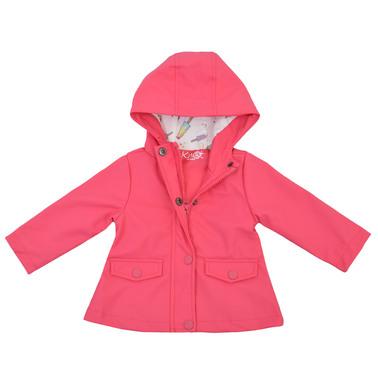 Бебешки дъждобран с качулка и двойно закопчаване в малинов цвят