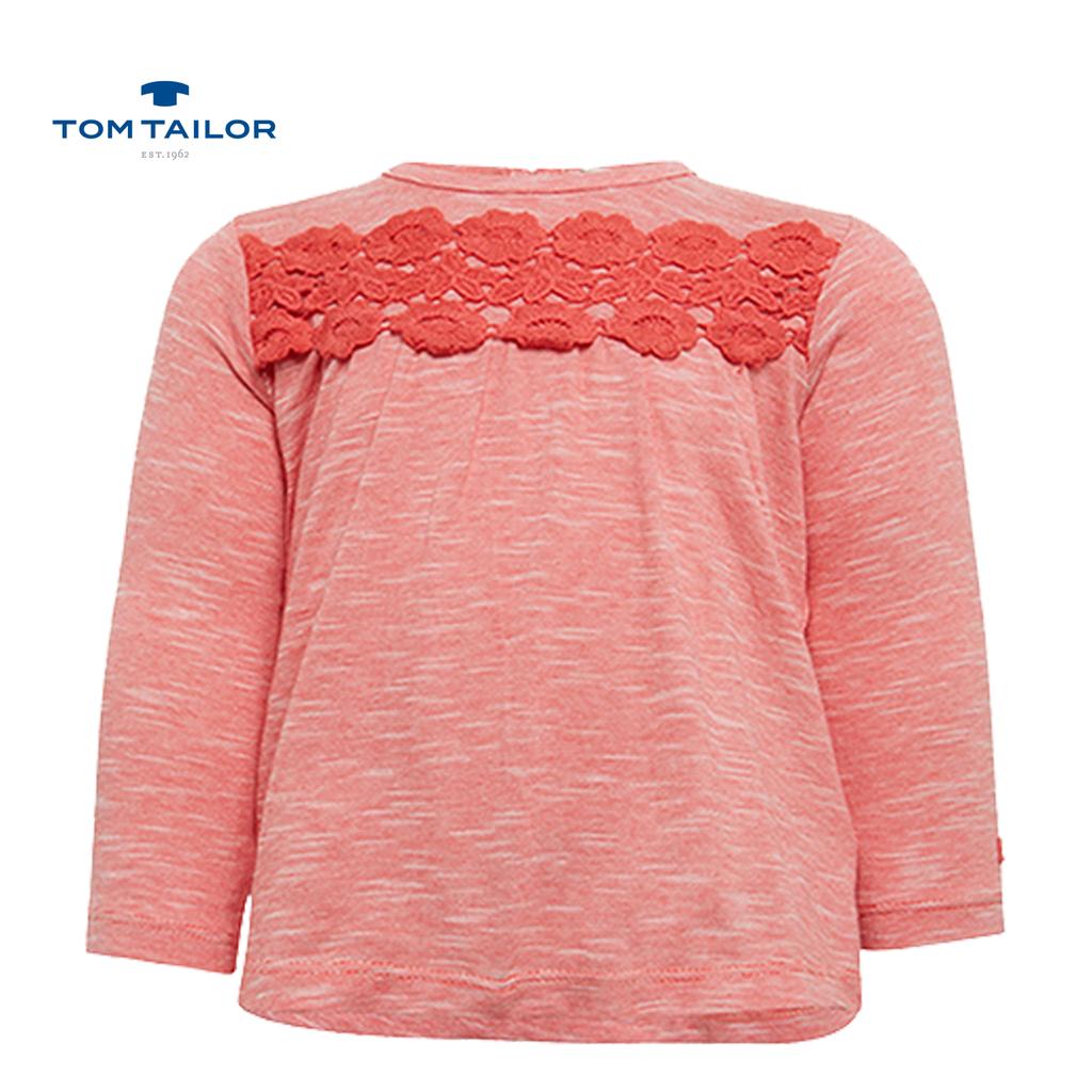 Блуза Tom Tailor с дълъг ръкав и дантела червена