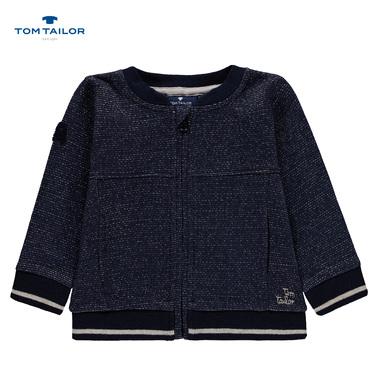 Трикотажна жилетка с цип и джобчета Tom Tailor тъмно синя