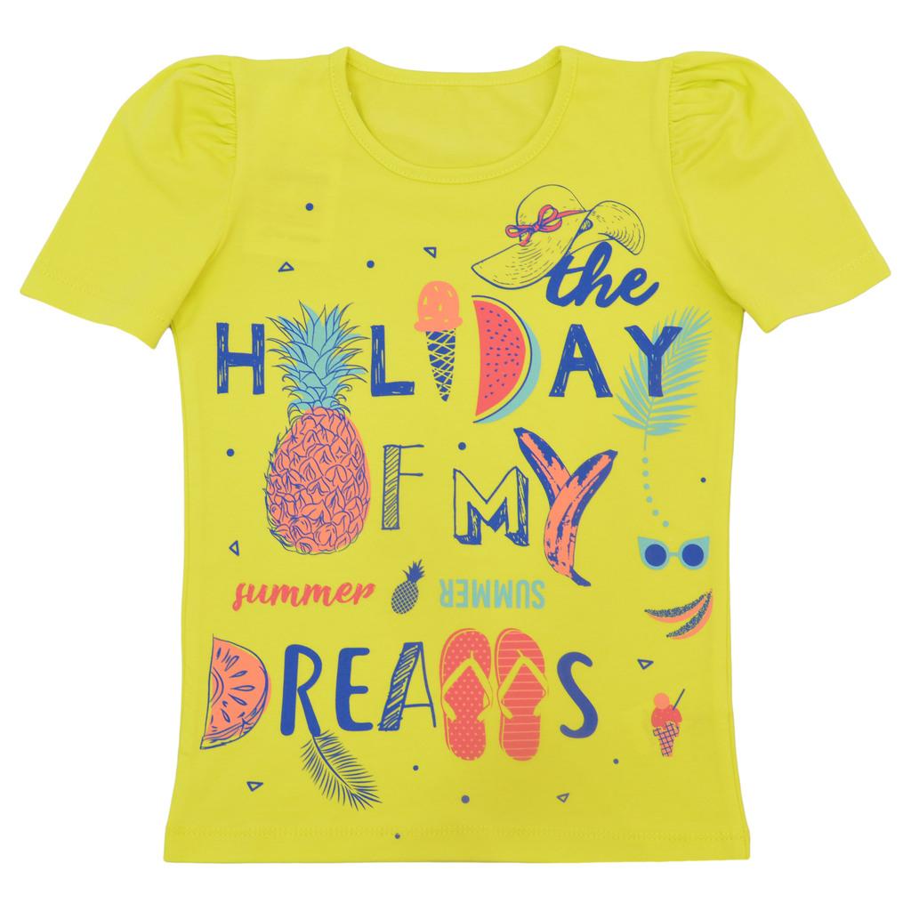 Елегантна тениска с пъстри надписи и плодове жълта
