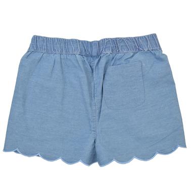 Дънкови къси панталонки с джобове и фламинго в цвят деним