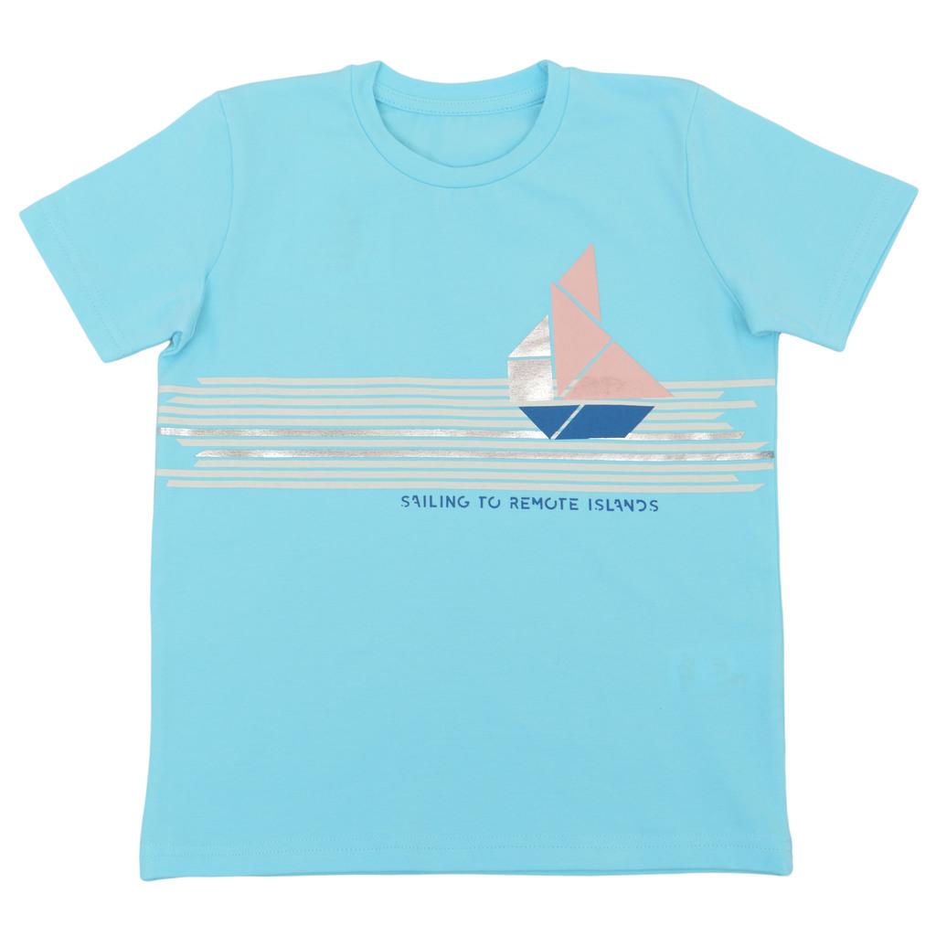 Тениска с кораб от геометрични фигури светъл електрик