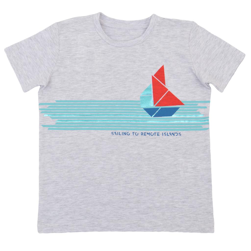 Тениска с кораб от геометрични фигури светъл меланж