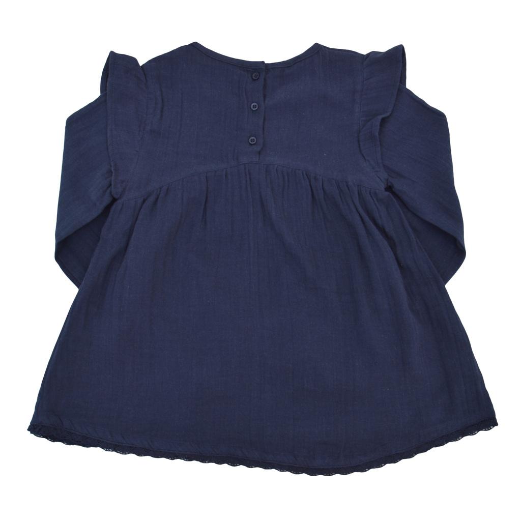 Официална детска туника с дантела и къдри на раменете тъмно синя