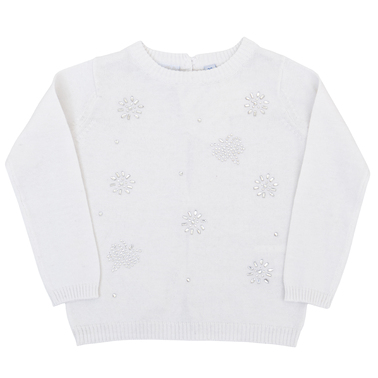 Плетена блуза дълъг ръкав с камъчета бяла