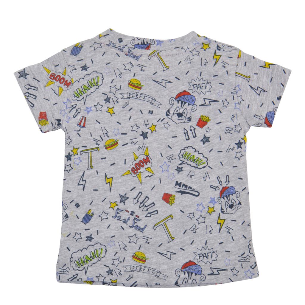 Трикотажна блуза комикс с къс ръкав сив маланж