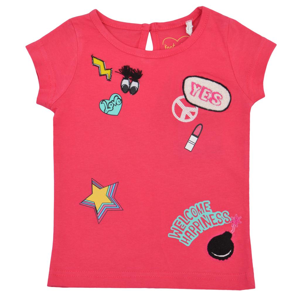 Готина детска тениска с апликации цикламена