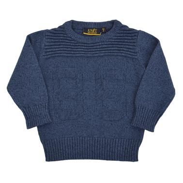 Детски плетен пуловер с цифри син