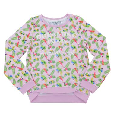 Пъстра спортна блуза с дълъг ръкав бледо розова