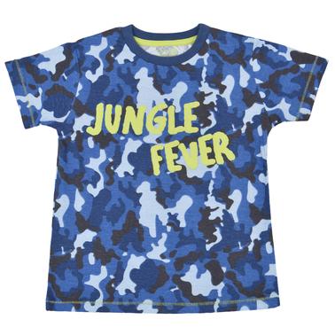Камуфлажна тениска с ярък релефен надпис синя