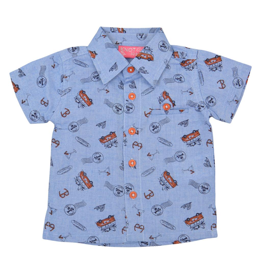 Риза къс ръкав с картинки и джобче оранжева