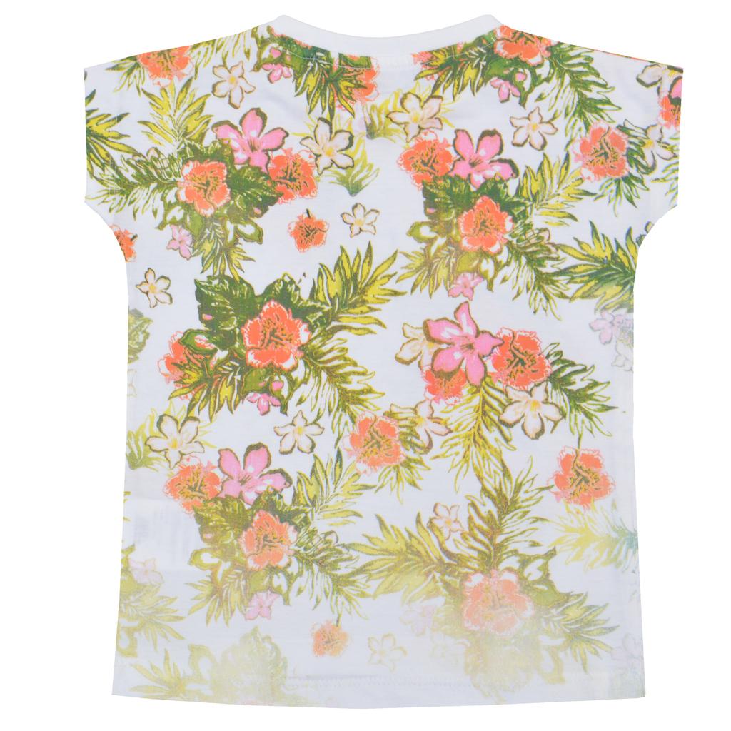 Детска лятна блузка с тропически цветя розова