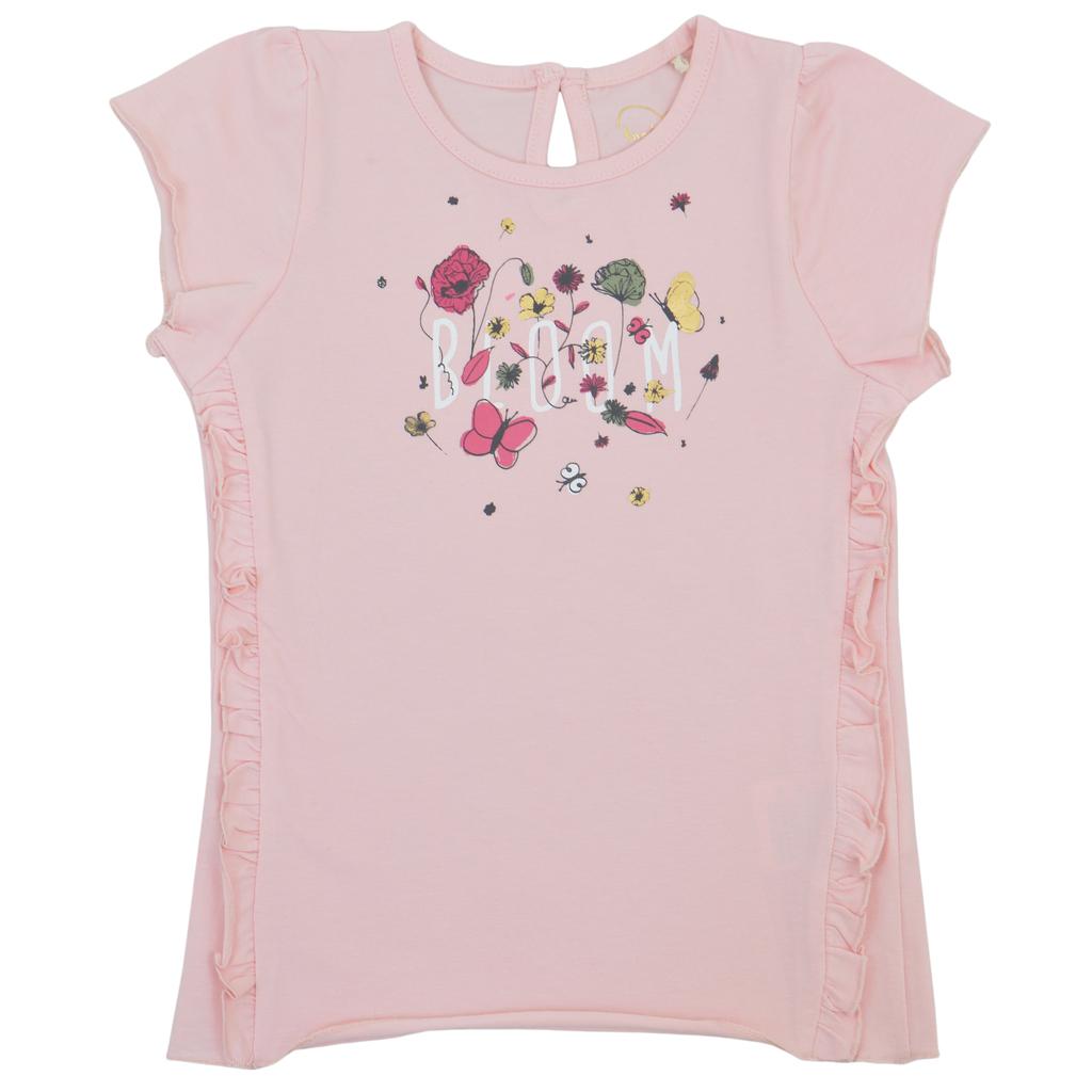 Елегантна блуза къс ръкав с къдри и флорална щампа в розово