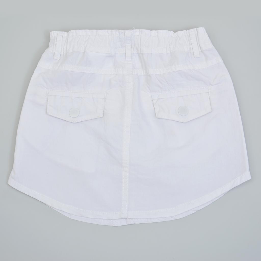 Права лятна ефирна пола с джобове бяла