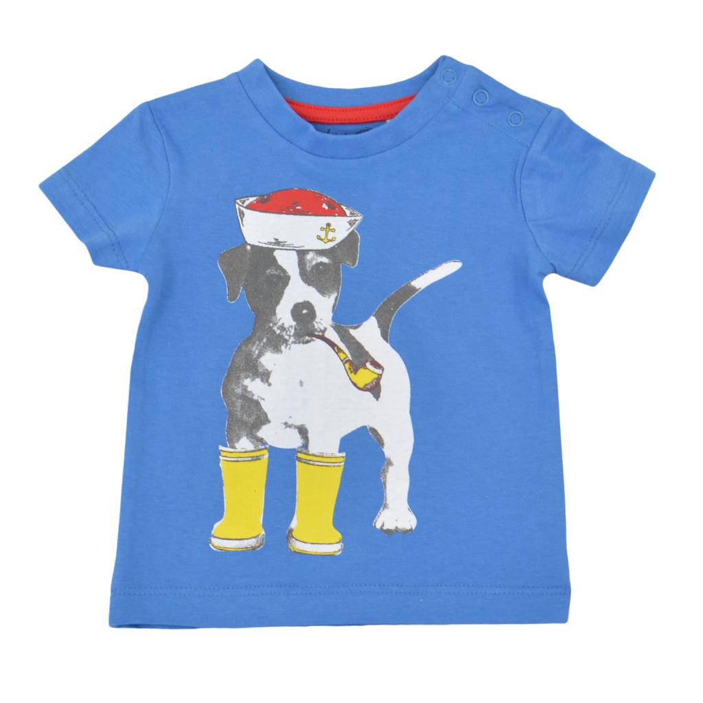Комплект от 2 броя бебешки блузи с кучета син
