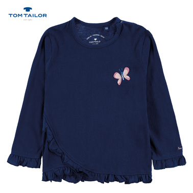 Блуза Tom Tailor с къдрички и пеперуда тъмно синя