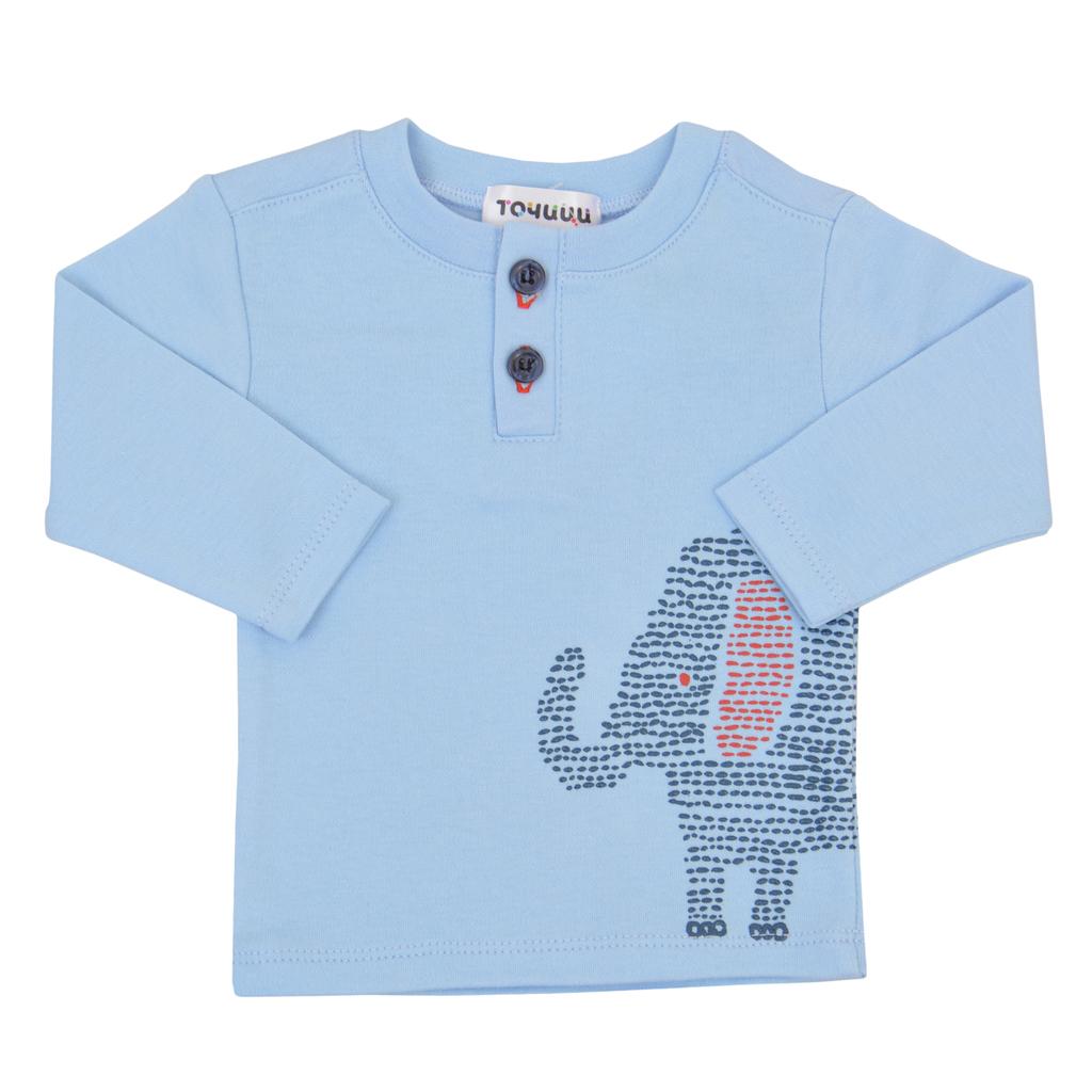 """Блузка """"Точици"""" с късо закопчаване и слонче в светло синьо"""
