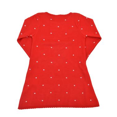 Плетена рокля с дълъг ръкав на точки червена