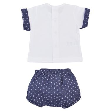 Комплект блуза къс ръкав и панталонки на котвички тъмно син