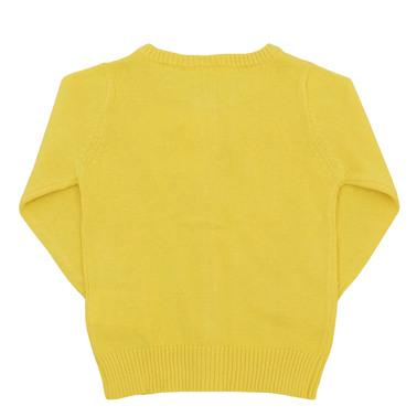 Памучна жилетка с дълъг ръкав и сърца от пайети жълта