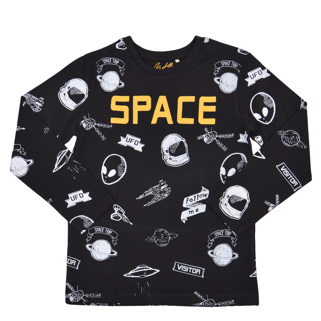 """Памучна блуза  """"Space"""" с множество щампи черна"""