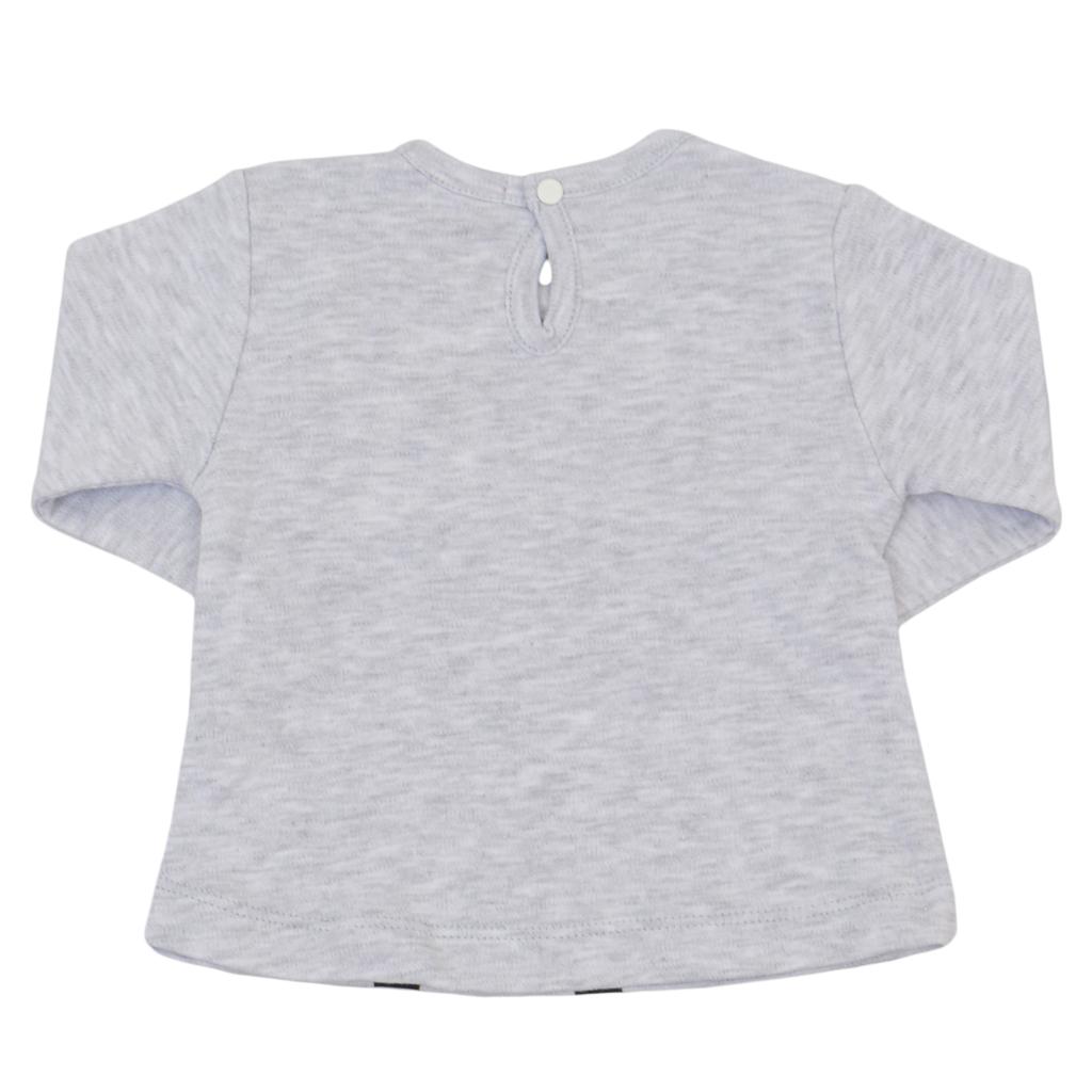 Комплект блуза с дълъг ръкав и пола с тюл светъл меланж