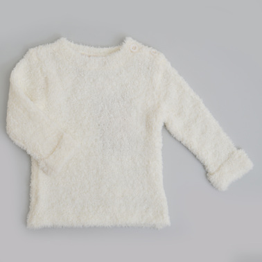 Пухкав бебешки пуловер екрю