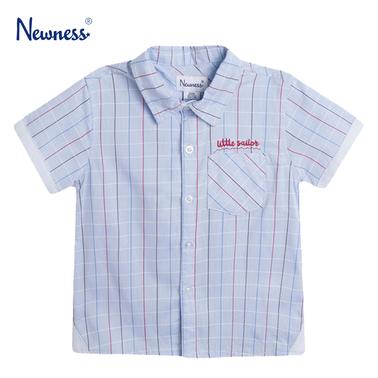 Ризка с цветни райета и джобче от Newness в светло синьо