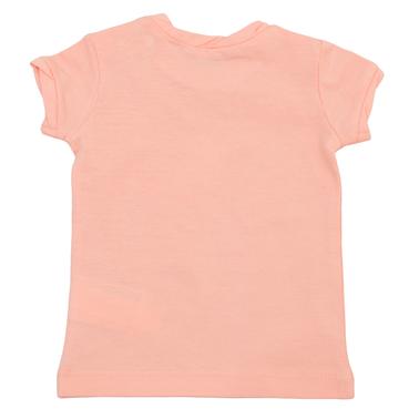Бебешка блуза с набор и щампа със сърца прасковена