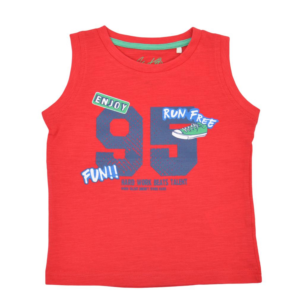 """Потник """"95"""" с цветни щампи червен"""