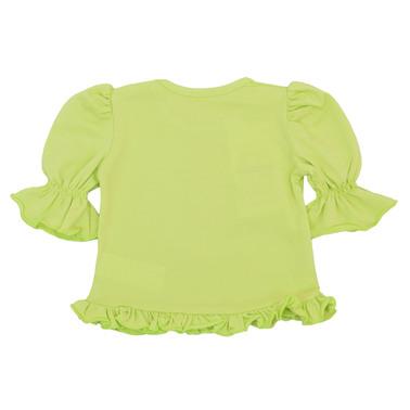 Блуза с 3/4 ръкав, волани и ананас жълта