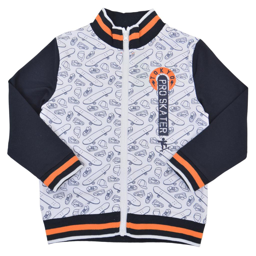 """Суитшърт """"Tokyo skater"""" с щампи и ярък ластик в оранжево"""