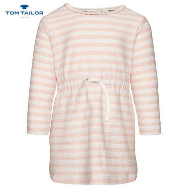 Бебешка рокля в райе с ширит Tom Tailor розова