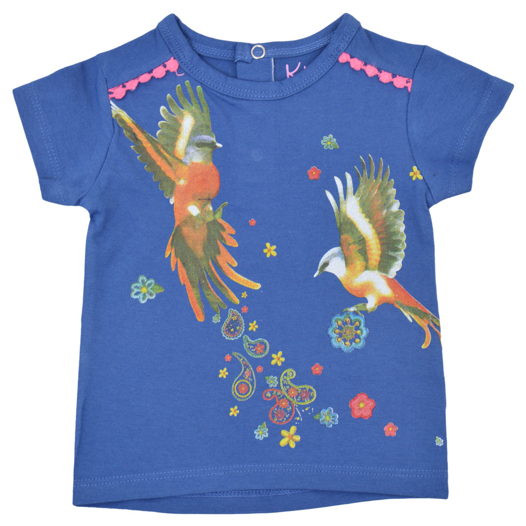 Тениска с копчета и щампа птици синя