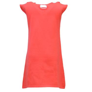 Плетена рокля с къдри без ръкав корал