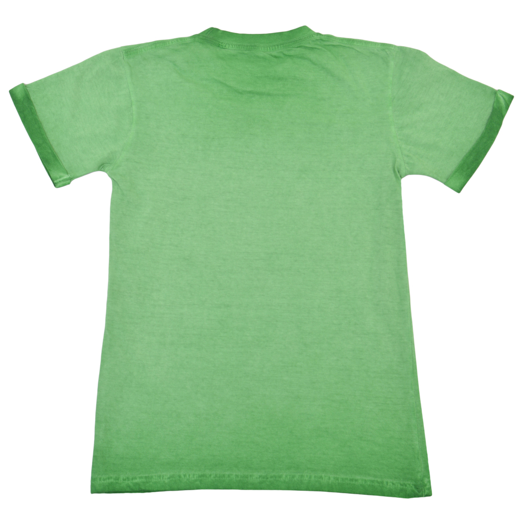 Блуза къс ръкав с обърнат кант състарена зелена
