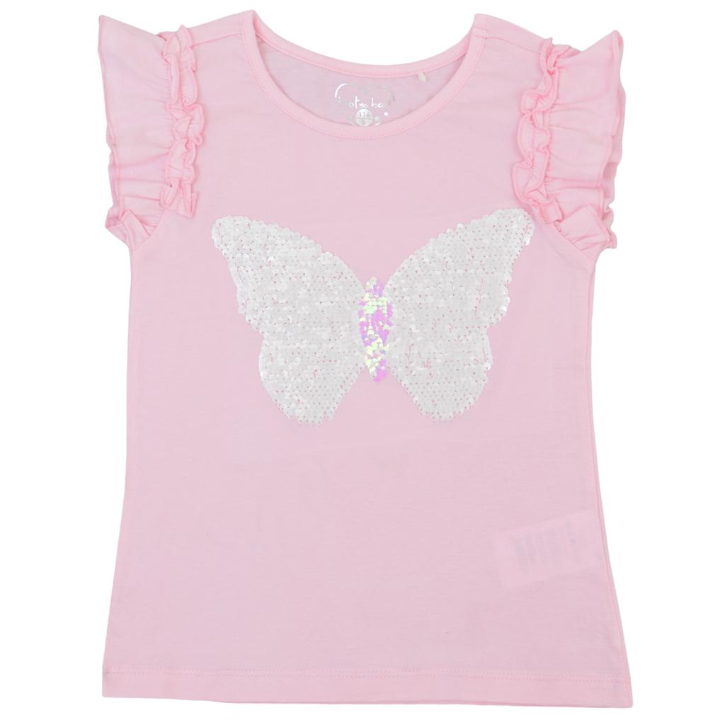 Блуза с къдрици и пеперуда от двуцветни пайети розова