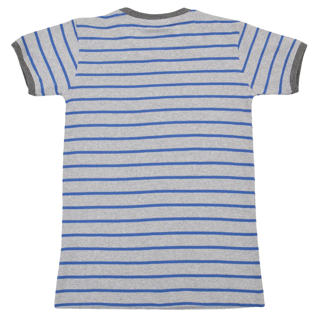 Лятна блуза в райе с надпис и емблема синя