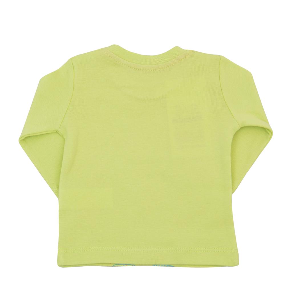 Блуза рипс с дълъг ръкав и щампа кученце зелена