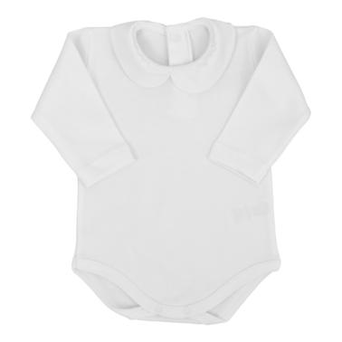 Памучно бебешко боди с яка бяло