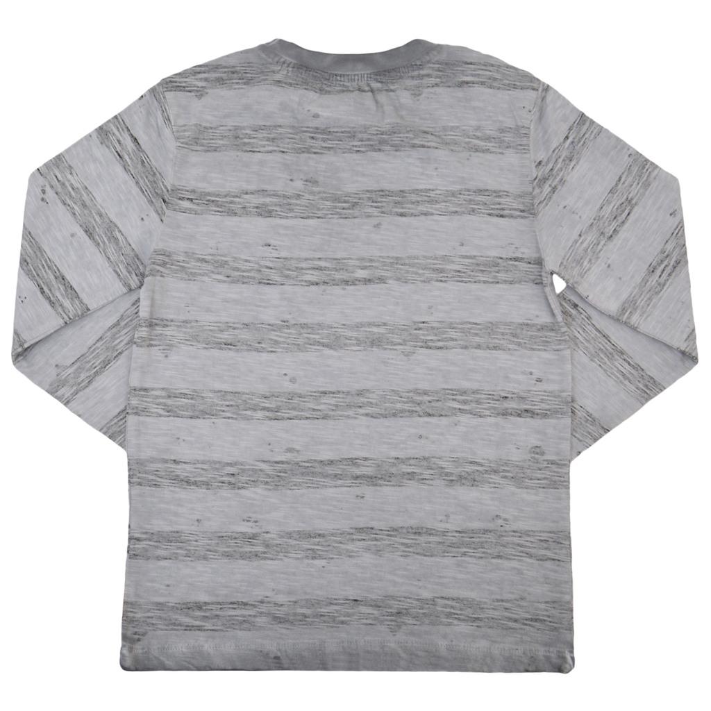 Състарена блуза на райета с емблема домино светло сива