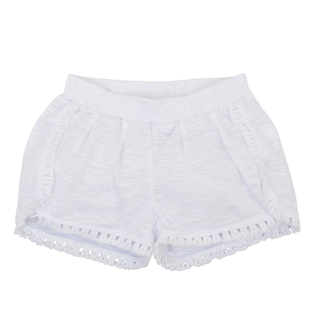Трикотажен панталон къс крачол с пискюлчета бял