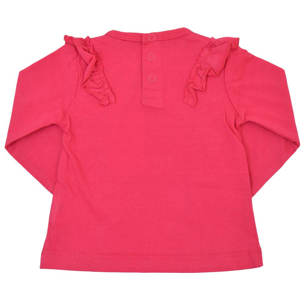 Блузка трапец с къдрички и брокатено сърце циклама