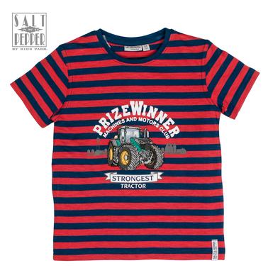 Тениска на райета с бродиран трактор от Salt & Pepper в червено