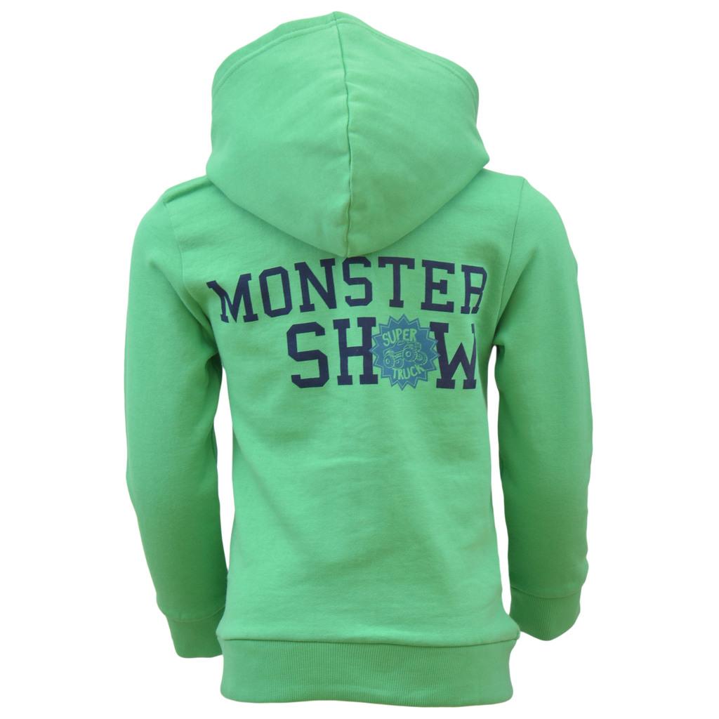Суитшърт ''Monster show'' с качулка и джоб кенгуру зелен