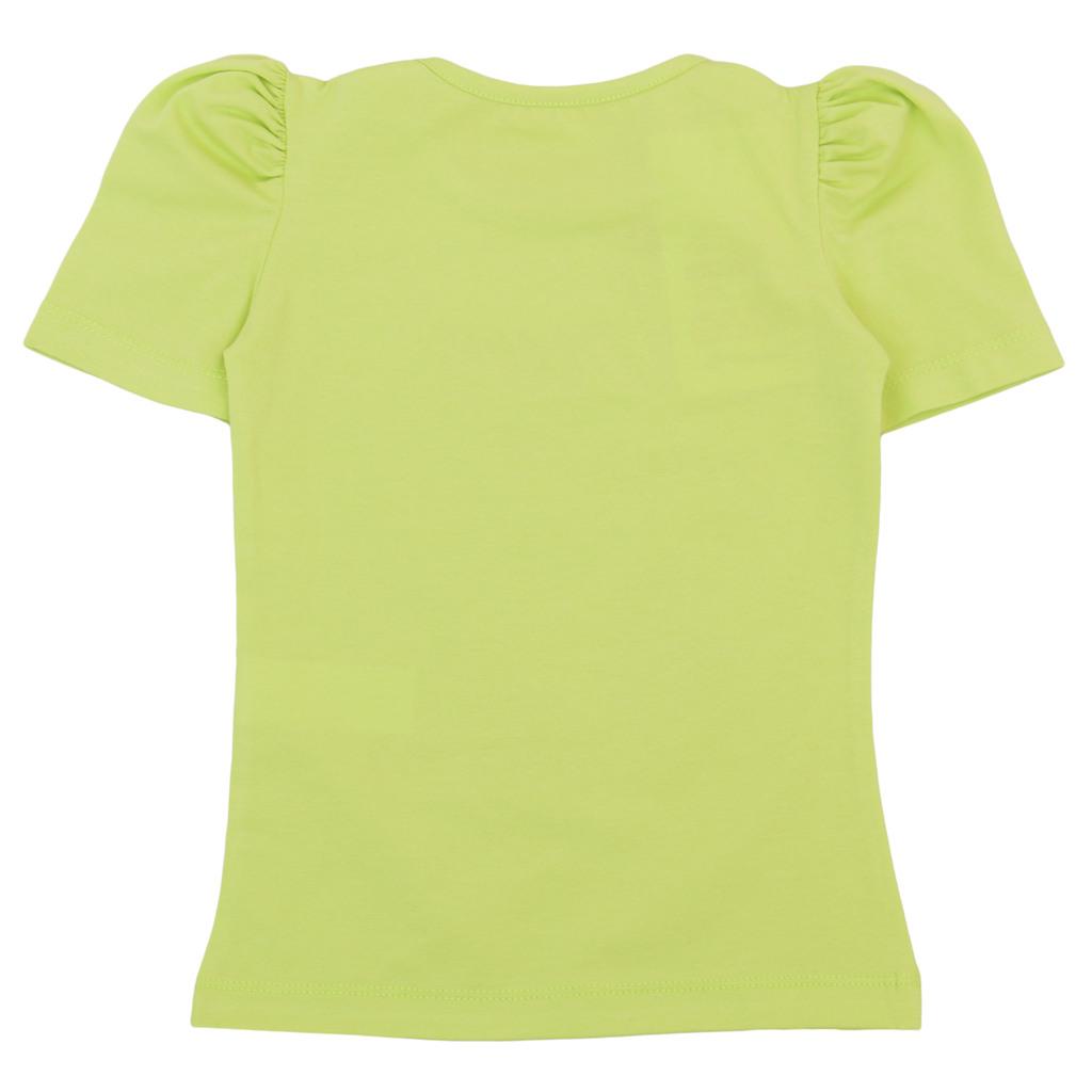 Елегантна тениска с ябълки и релефни надписи зелена