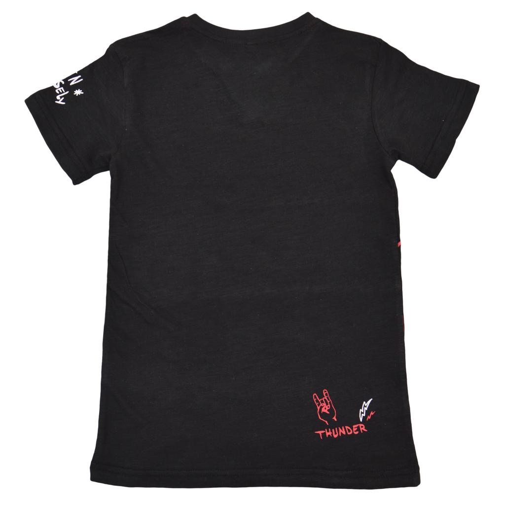 """Тениска с китара и """"V""""- образно деколте черна"""